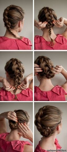 cute inverted braid twist - it reminds me of an updated version of the tucked in french braid that people did in the 90's