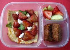 Strawberry pizza, strawberry salad, strawberry bread lunch