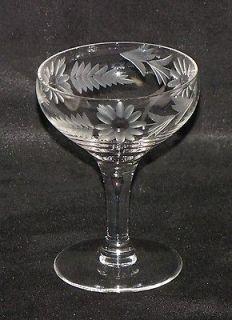 4 Vintage Crystal Wine Glasses Etched Flowers, Libbey ...
