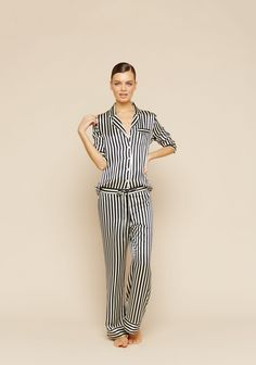 Drawing inspiration from the opulence of luxe 1920s loungewear, Olivia von Halle's inimitable   Lila silk pajama is cut for a relaxed and fluid fit