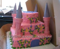 Pretty Pink Princess Castle Cake... This website is the Pinterest of birthday cake ideas