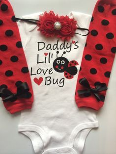Father's Day outfit baby girl outfit ladybug by AboutASprout