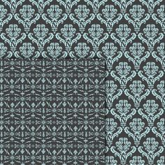 Download Digital Paper Pack Damask & Swirls Dark Grey & Pale Blue Online | Gidget Designs