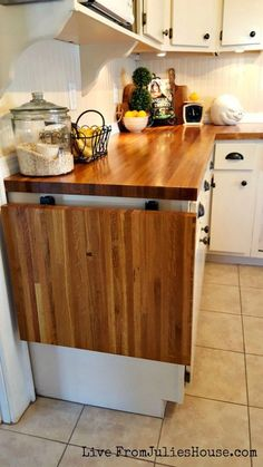 DIY Budget Kitchen Reno - Love the idea of a fold down extra counter space!