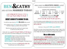 Modern Funny Wedding Program II | Cas, Colors and Places
