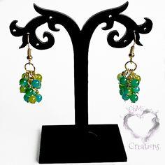 Dangle Earrings Blue Green Glass Grapevine hot fashion boho style from OhMiCreations.