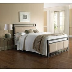 Danville Complete Bed with Squared Metal Tubing and Buckwheat Upholstered Panels, Coffee Finish, Full |