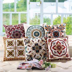 45x45cm Fashion Pillow Case Handmade Crochet Flower Embroidery Covers Home Decorative Pillowcase Hot India Mandala pillow sham