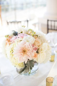Blush and white low centerpiece. Dahlias, hydrangea, curly willow, roses, stock, dusty miller -Florals by Jenny -Intertwined Events -Kaysha Weiner Photography -Balboa Bay Club