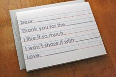 Finally! A realistic solution to the ever-annoying thank you card.