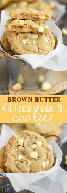 These insanely delicious Brown Butter White Chocolate Macadamia Nut Cookies are guaranteed to be a new favorite!  Super easy to make and mouth watering good! This easy cookie recipe is one  you will find yourself making over and over...  MomOnTimeout.com