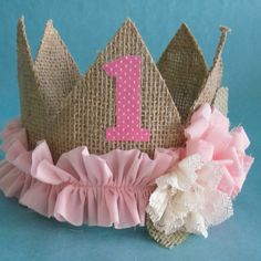 Shabby Chic burlap birthday crown pink A012 by Hartranftdesign, $28.00