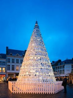 30 Ft. Christmas tree in Belgium made of porcelain dishes.