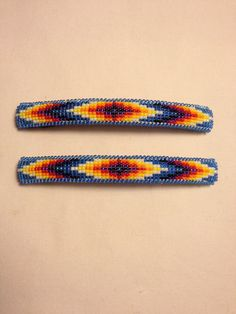 Native American beaded barrettes. by CameronGoods on Etsy