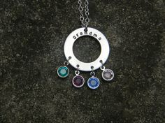 Sterling Silver Stamped Washer Disc Necklace With Birthstones, grandmother necklace, grandma necklace, mother necklace, mom necklace, stamped family jewelry by Jwhiz