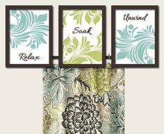 Teal Green Brown Bathroom Artwork Set of 3 Trio by trmDesign, $30.00