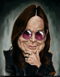 TOONPOOL Cartoons - Ozzy Osbourne Caricature by Felipe Moreira, tagged digital, paint, caricature - Category Famous People - rated / Funny Caricatures, Celebrity Caricatures, Celebrity Drawings, Ozzy Osbourne, Cartoon People, Cartoon Images, Cartoon Art, Rock Y Metal, Drawing Stars