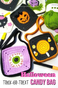 This Halloween, crochet a simple granny square trick-or-treat bag with this easy, step-by-step tutorial. Make a cute and scary candy bag! #grannysquare #bag #candy #halloween #trickortreat #diy Bag Crochet, Crochet Clutch, Crochet Fall, Halloween Crochet Patterns, Easy Crochet Patterns, Crochet Designs, Trick Or Treat Bags, Candy Bags, Crochet Projects