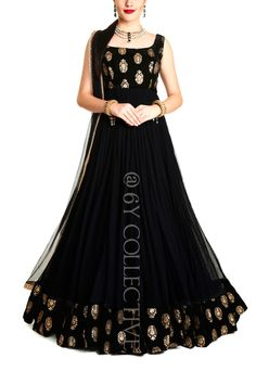 6Y Collective Gown Party Wear, Party Wear Indian Dresses, Indian Gowns Dresses, Indian Fashion Dresses, Dress Indian Style, Indian Designer Outfits, Indian Outfits, Skirt Fashion, Designer Anarkali Dresses