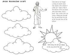Craft page for Jesus's Ascension.  Cut out sun/cloud and Jesus and thread through a blue cup.  Other clouds to be pasted to the outside of the cup