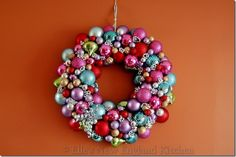 Christmas ornament ball wreath. Would make a great gift