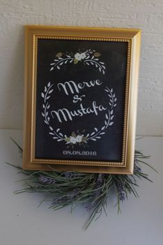 Wedding isim&isim  çerçeveli tablo Nikah,düğün ve özel günleriniz için tasarlanmış altın rengi çerçeveli tablo18x24 cm.... 311405