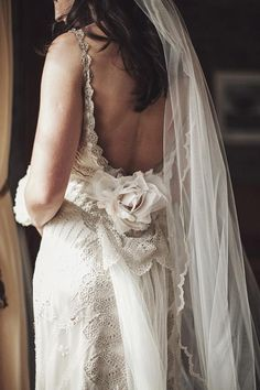 Gorgeous wedding gown with floral detail | Claire Pettibone 'Mystere' in platinum/ivory