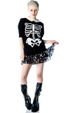 Gorrrrrrrgeous skeleton sweater from dollskill. The collar is just icing on the cake. But $265?!