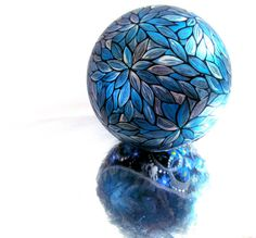Metallic Blue Hand painted Christmas Ornament by PearlesPainting