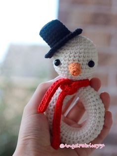 Snowman Rattle Crochet Amigurumi Christmas gift  Stuffed toy for Baby Free shipping in United States