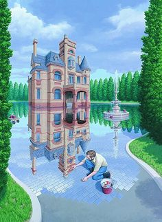 Rob Gonsalves, The Mosaic Moat. During his childhood, Rob Gonsalves developed an interest in drawing from imagination using various media. By age 12, his awareness of architecture grew as he learned perspective techniques and first began to paint renderings of imagined buildings.  In his post college years, Gonsalves worked full time as an architect.