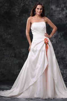 Robe de mariée avec lacets de bustier avec sans manches de traîne mi-longue…