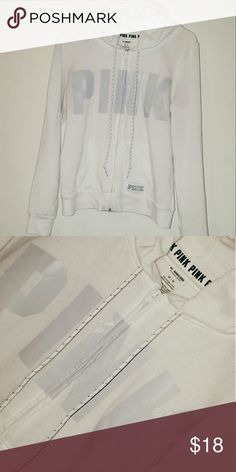 FLASH SALE! VS PINK WHITE FULLZIP W PALE GRAY LOGO Cute and simple white full zip with pale gray logo and stitched logo on the left lower side. The coloring looks a little strange in the photos, but it's white lol. Could be super bright with a good bleach wash :) Worn maybe 3 or 4 times. Looking to get rid of some stuff to make more room in my closet ASAP! Make an offer :)   No trades, sorry! PINK Victoria's Secret Tops Sweatshirts & Hoodies