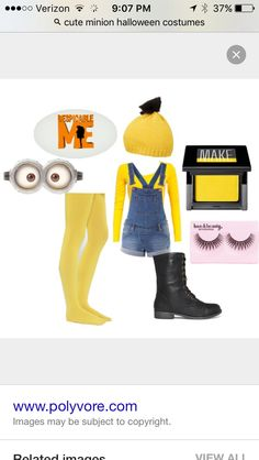 Halloween Costumes for the Perfect Halloween Groupie - Woman Diy Hacks Minion Halloween Costumes, Cute Costumes, Halloween Kostüm, Baby Costumes, Costumes For Women, Costume Ideas, Diy Minion Kostüm, Cute Minions, Minion Makeup