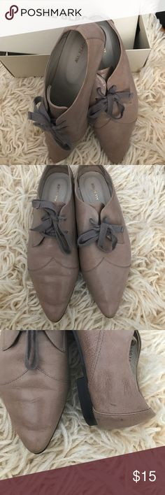 """❣️Sale❣️Light grey/tan flats Very comfy"""" All black"""" brand oxfords. Box is naming color light grey, I believe they are more a tan. :))  A few wear marks on the shoes, nothing major. See attached picture. Made in Taiwan. Shoes Flats & Loafers"""