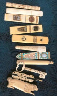 """Needle cases, from """"Ouvrages de Dames,"""" Frédérique Crestin-Billet, Sajou. Vintage Sewing Notions, Antique Sewing Machines, Sewing Box, Sewing Tools, Sewing Kits, Couture Vintage, Sewing Equipment, Embroidery Tools, Needle Case"""