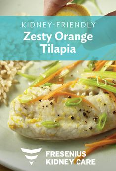 Zesty Orange Tilapia uses fresh orange zest to give this white fish added flavor. Try this light kidney-friendly recipe today. Serve with julienned vegetables for a simple and delicious meal. Davita Recipes, Kidney Recipes, Diet Recipes, Recipies, Renal Diet, Dialysis Diet, Cardiac Diet, Metabolic Diet, Low Potassium Recipes