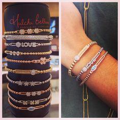 We are loving the stacked look! Check out our new line Hulchi Belluni!  #joyces #jewelry #joycesjewelry #uniontown #hulchibelluni #designer #diamonds #sparkle #fashion #style #fabulous #love