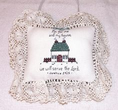 Miniature Cross Stitched Pillow Wall Hanging Ruffled by mrnglry, $14.50