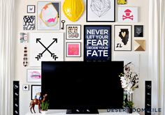A collage of photos, interesting prints, and other cheeky, hangable knick-knacks removes the focus from your flat screen. Plus, it adds a ton of eclectic personality your family's gathering space. See more at Desert Domicle »