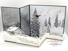Pinterest Christmas Cards, Pop Up Christmas Cards, Xmas Cards, Homemade Greeting Cards, Hand Made Greeting Cards, Homemade Cards, Fancy Fold Cards, Folded Cards, Stamping Up Cards