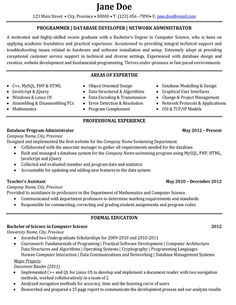 click here to download this programmer or database developer or network administrator resume template http - Sample Resume System Administrator