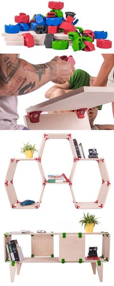 PlayWood Allows You To Create Your Own Furniture Designs /// Created by a team of designers in Italy, PlayWood is a simple connector that allows you to create your own modular furniture. Modular Furniture, Unique Furniture, Furniture Plans, Rustic Furniture, Kids Furniture, Furniture Decor, Furniture Design, Luxury Furniture, Drawing Furniture