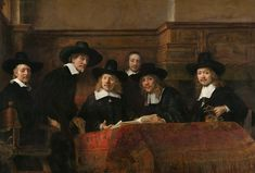 Syndics of the Drapers' Guild. Rembrant. 1662. Oil on canvas. | The men (with the exception of Bel who is an attendant as indicated by his calotte) are drapers who were elected to assess the quality of cloth that weavers offered for sale to members of their guild.