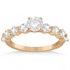 Engagement Ring Setting w/ Diamond Side Stones 18K Rose Gold (0.80ct)-Allurez.com
