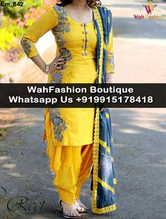 Mesmeric Yellow And Gray Embroidered Suit Product Code : For More Details Whatsapp Us : (Get Ready your own design in any color and on any fabric, Just contact us) WahFashion Boutique Punjabi Suits Designer Boutique, Designer Suits Online, Salwar Designs, Blouse Designs, Punjabi Salwar Suits, Patiala, Salwar Pattern, Suits For Women, Clothes For Women