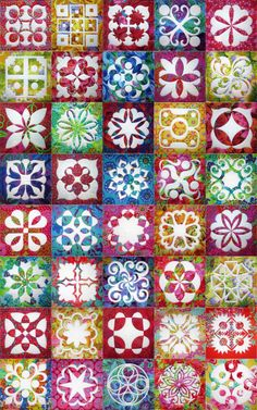 Applique Magic blocks with Kaffe Fassett fabrics at Jenny Haskins Designs (Australia)