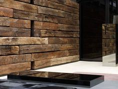 villa eugénie, bruxelles  ...love the rustic wood contrasted with high gloss black