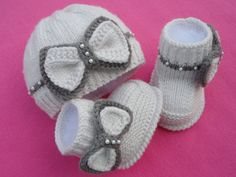 ........................... PATTERN .............................  --------------------------------------------------------------  .................. INSTANT DOWNLOAD .................   This is a Knitting PATTERN Baby Set ( PDF file ).  Price is ONLY for the PATTERN and NOT for the finished item !  -------------------------------------------------------------------------------------  They are knitted on two needles.  Pattern is made for Sizes :   SIZE BOOTIES :   size : 0 - 3 months…