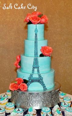 Eiffel Tower quinceanera cake - All aqua Marshmallow fondant with hand-drawn Eiffel Tower